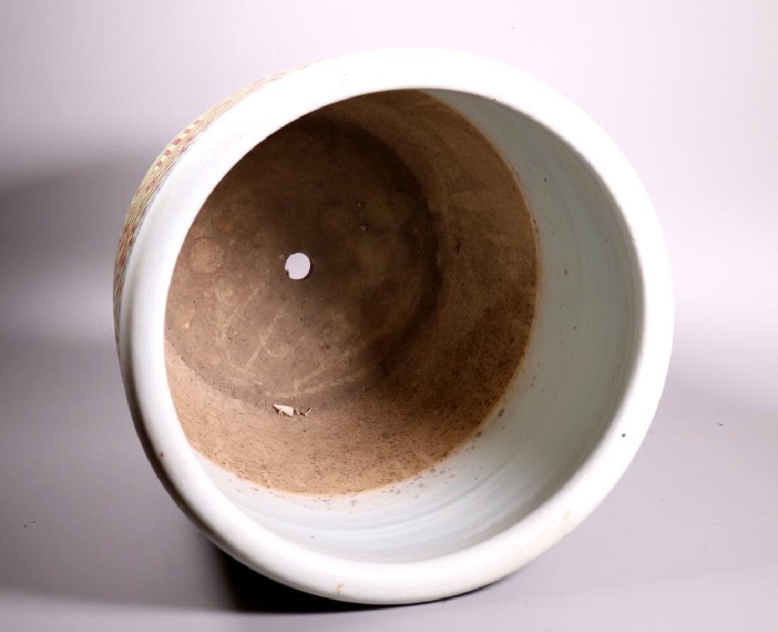 Large Chinese Shou Enameled Porcelain Planter - 6