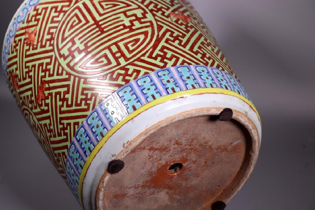 Large Chinese Shou Enameled Porcelain Planter - 7