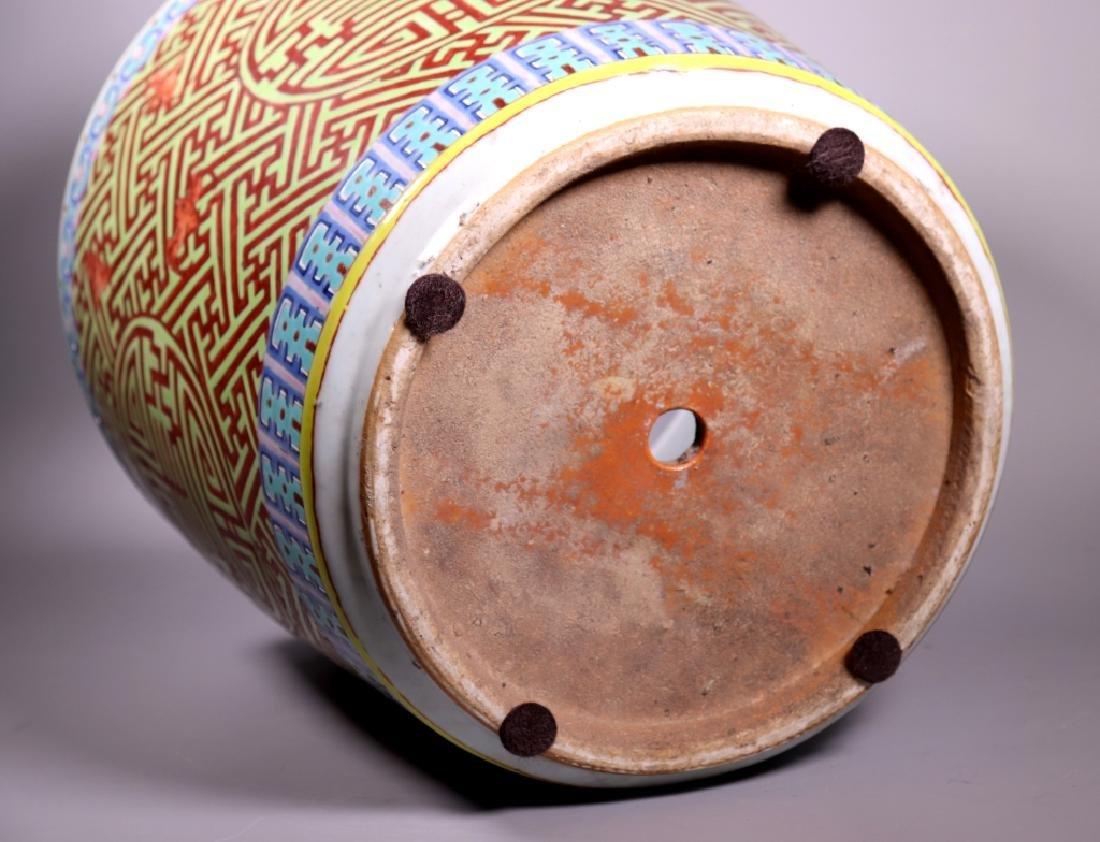 Large Chinese Shou Enameled Porcelain Planter - 8