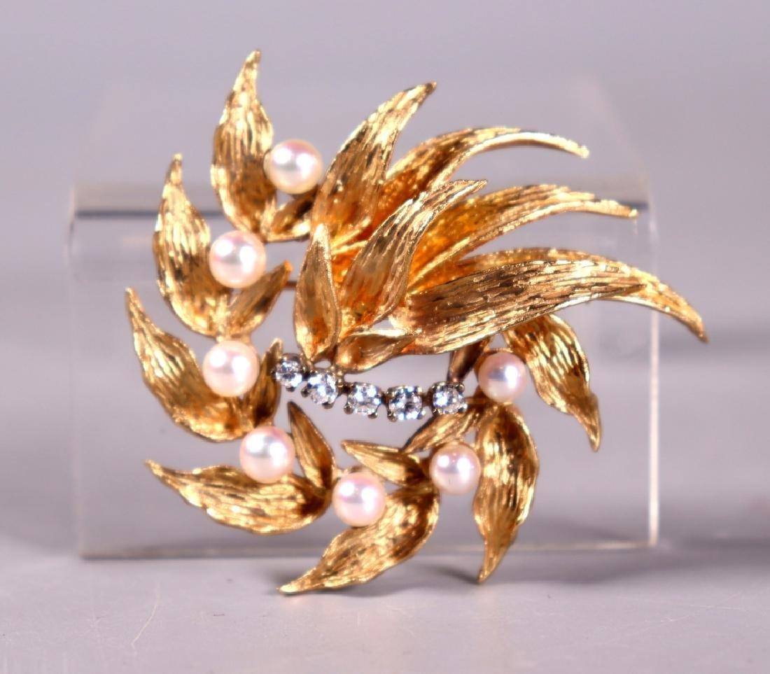 Fine 14K Engraved Yellow Gold, Pearl & Diamond Pin