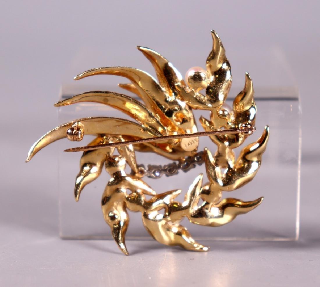 Fine 14K Engraved Yellow Gold, Pearl & Diamond Pin - 2