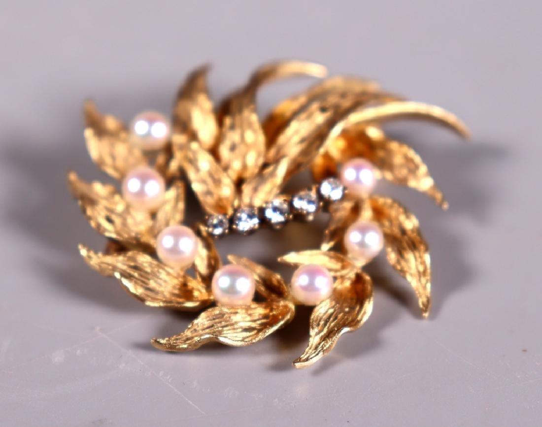 Fine 14K Engraved Yellow Gold, Pearl & Diamond Pin - 3