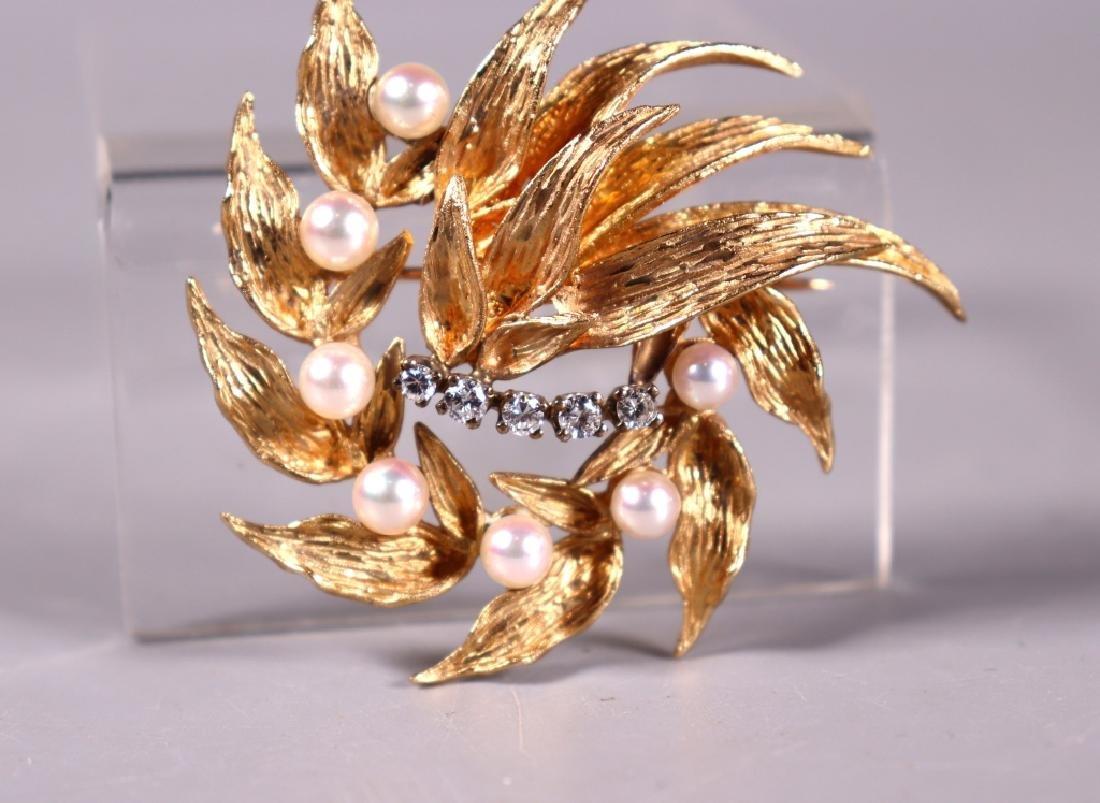 Fine 14K Engraved Yellow Gold, Pearl & Diamond Pin - 4
