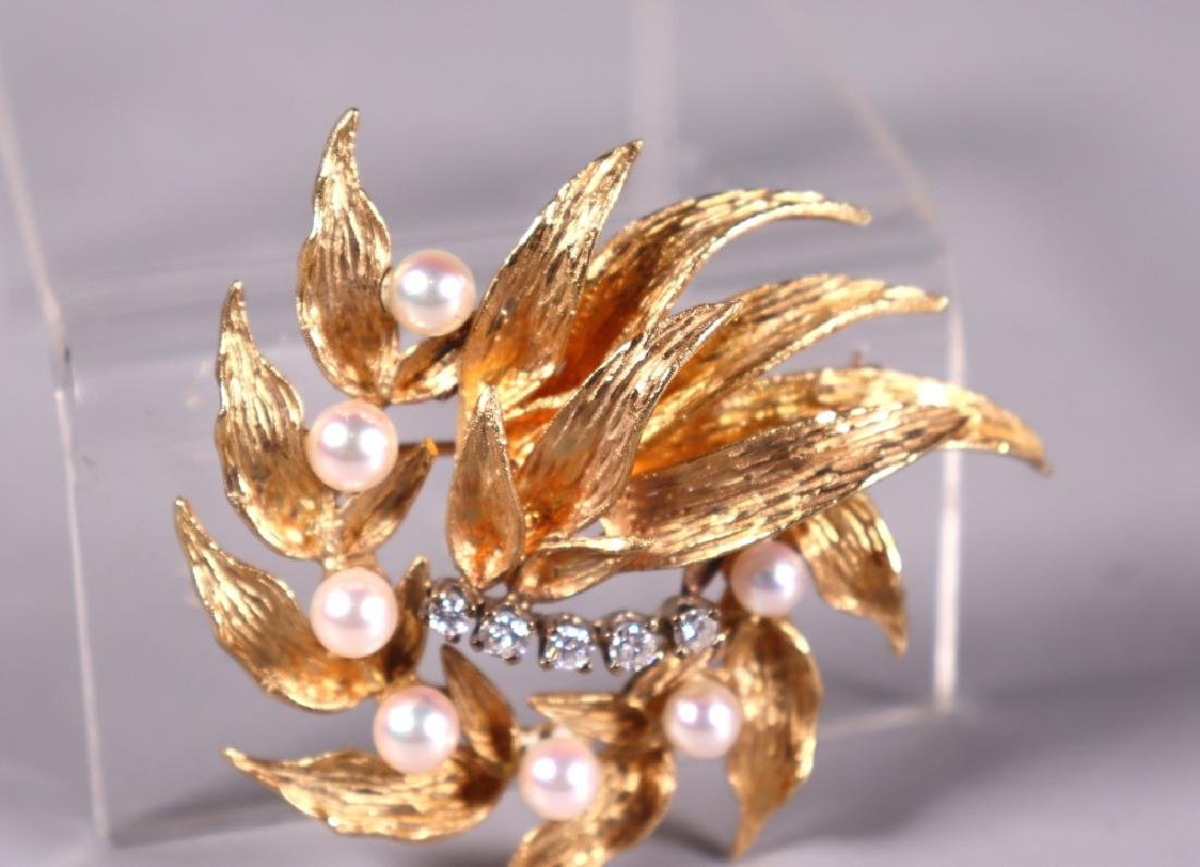 Fine 14K Engraved Yellow Gold, Pearl & Diamond Pin - 5