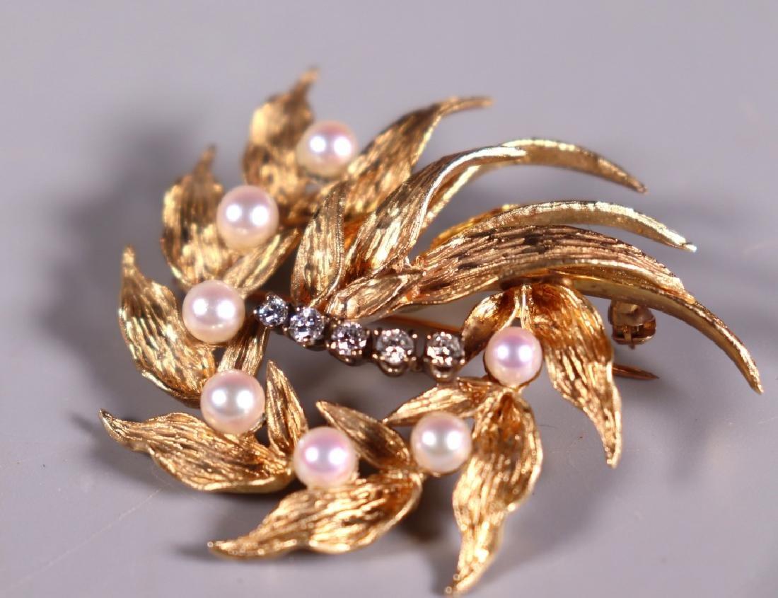 Fine 14K Engraved Yellow Gold, Pearl & Diamond Pin - 6