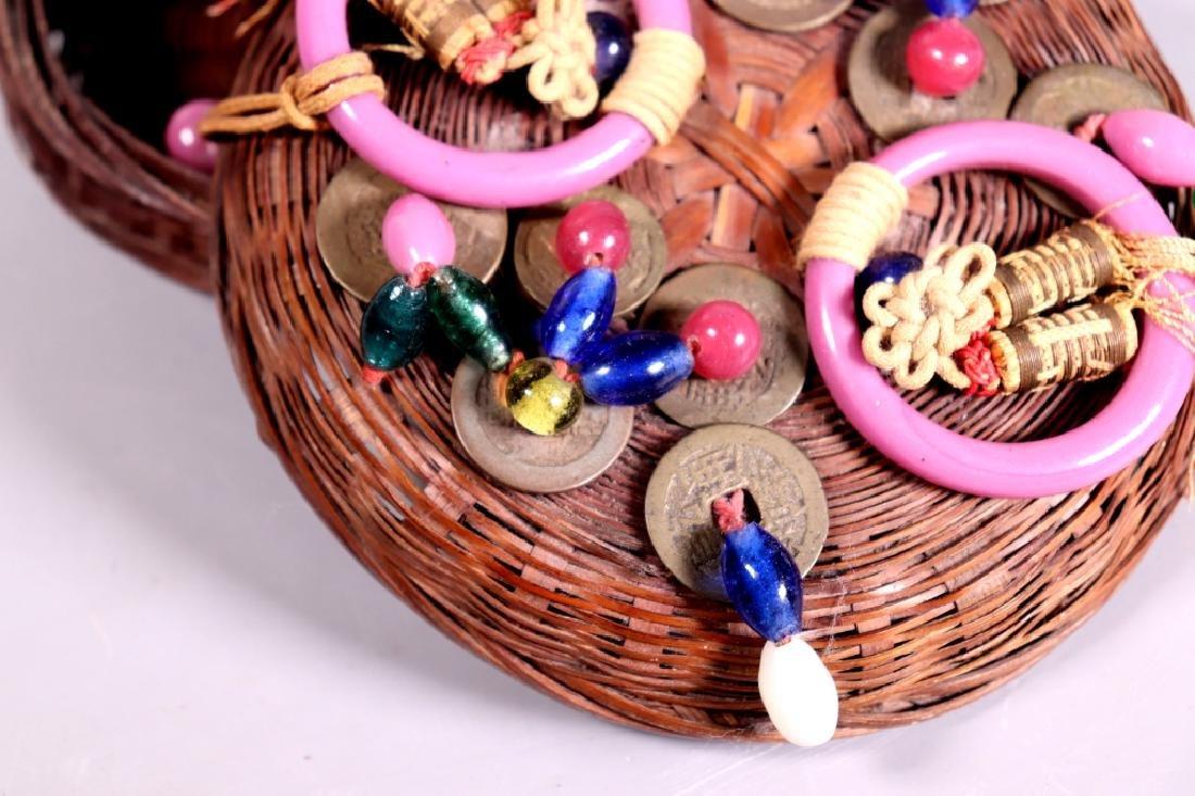 Chinese Bamboo Sewing Basket; Peking Glass, Etc. - 8
