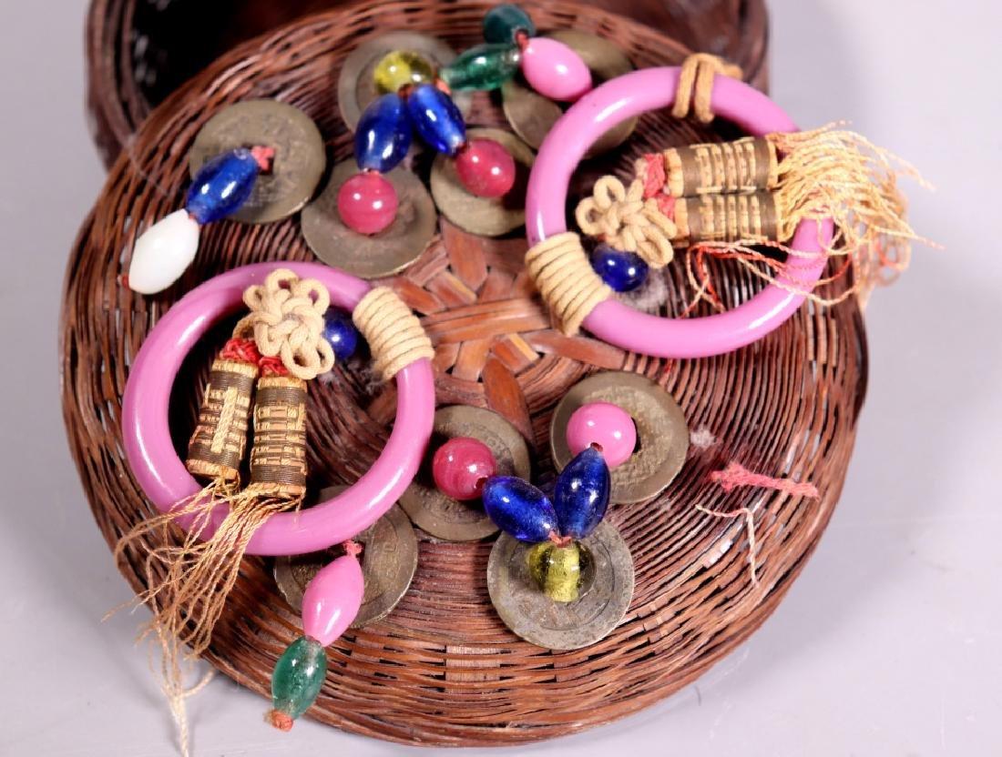 Chinese Bamboo Sewing Basket; Peking Glass, Etc. - 9