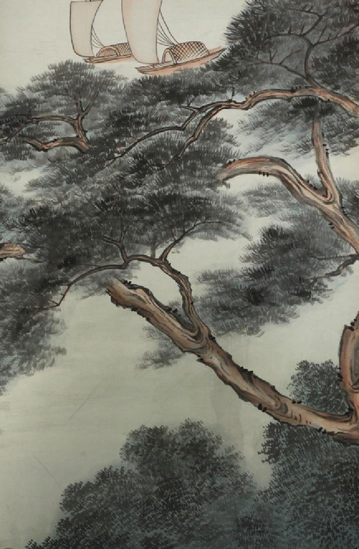 6 Chinese Ink & Color Paintings on Silk Landscape - 10