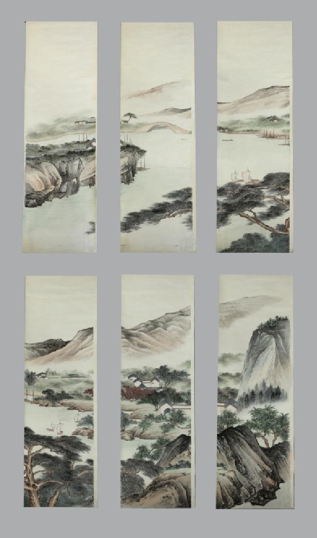 6 Chinese Ink & Color Paintings on Silk Landscape