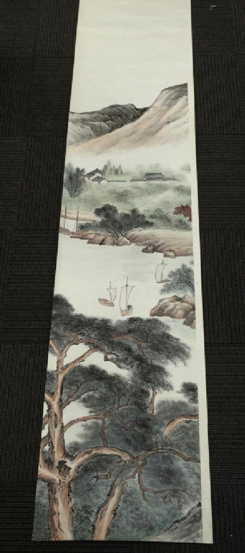 6 Chinese Ink & Color Paintings on Silk Landscape - 4