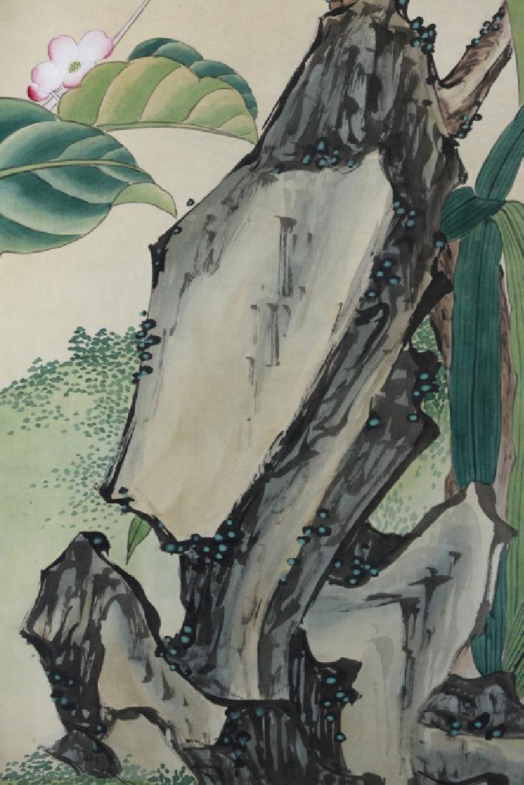 4 Chinese Paintings on Silk, Flowers & Leaves - 10