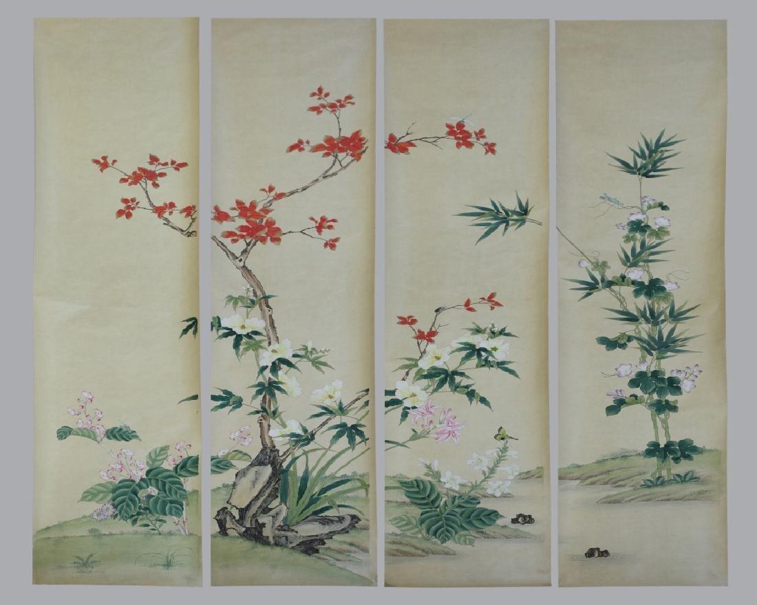 4 Chinese Paintings on Silk, Flowers & Leaves