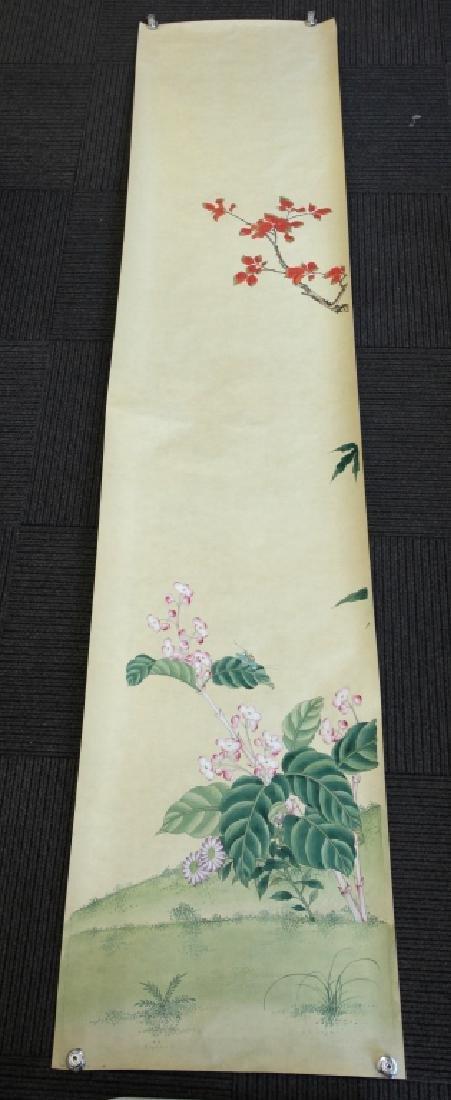 4 Chinese Paintings on Silk, Flowers & Leaves - 2