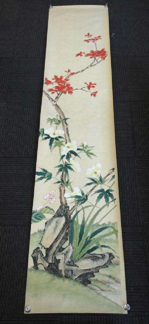 4 Chinese Paintings on Silk, Flowers & Leaves - 3