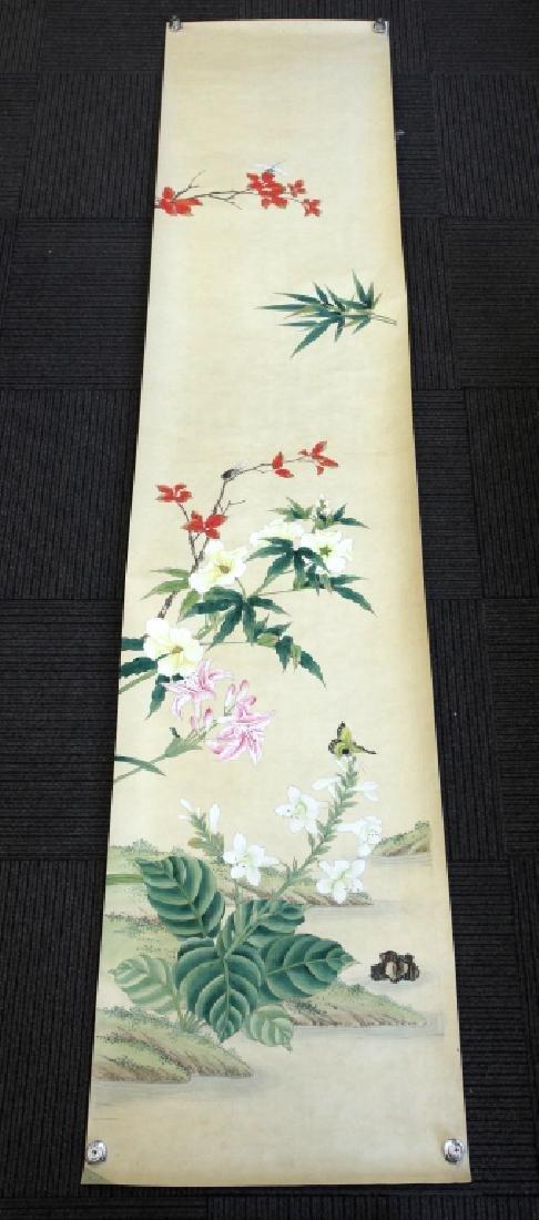 4 Chinese Paintings on Silk, Flowers & Leaves - 4