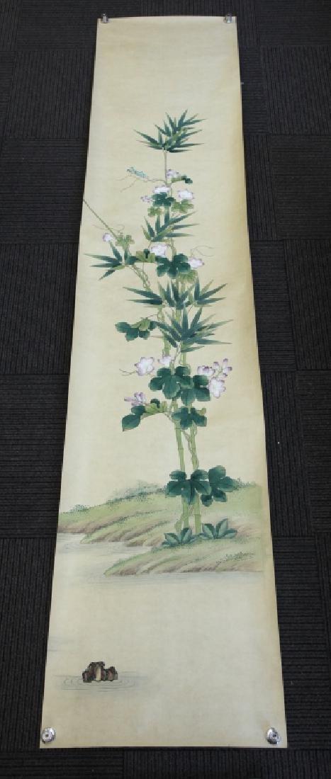 4 Chinese Paintings on Silk, Flowers & Leaves - 5