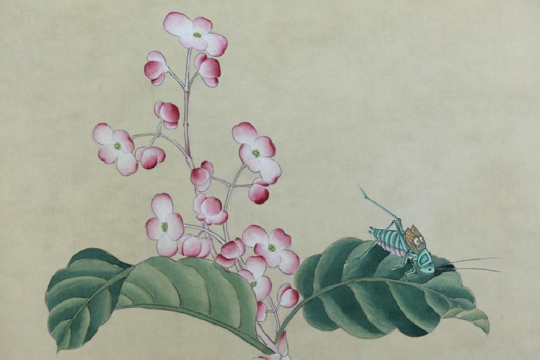 4 Chinese Paintings on Silk, Flowers & Leaves - 7