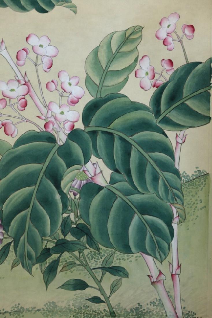4 Chinese Paintings on Silk, Flowers & Leaves - 8