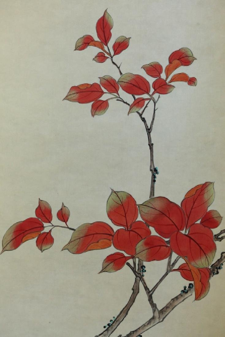 4 Chinese Paintings on Silk, Flowers & Leaves - 9