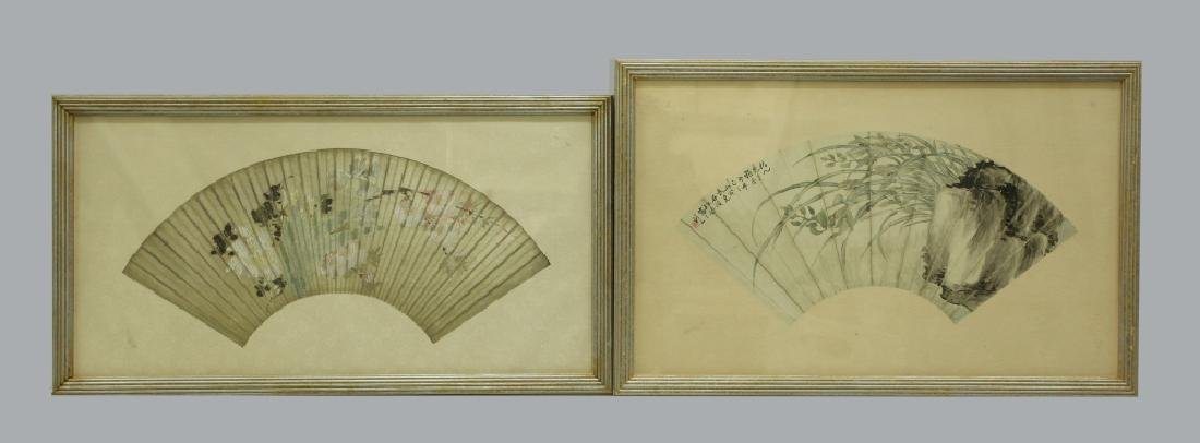 2 Antique Chinese Fan Paintings; Ink & Color
