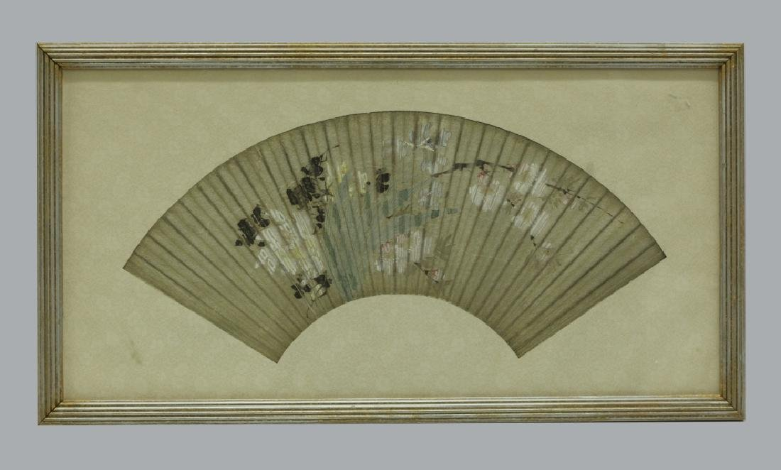 2 Antique Chinese Fan Paintings; Ink & Color - 2
