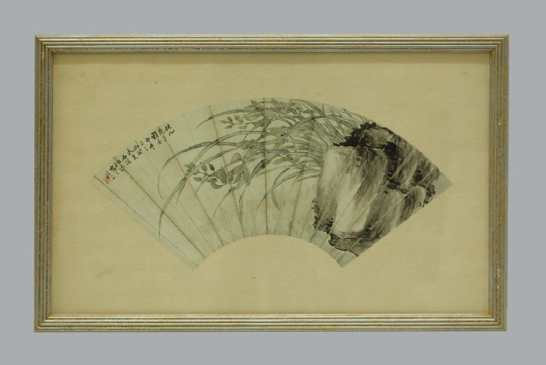 2 Antique Chinese Fan Paintings; Ink & Color - 6