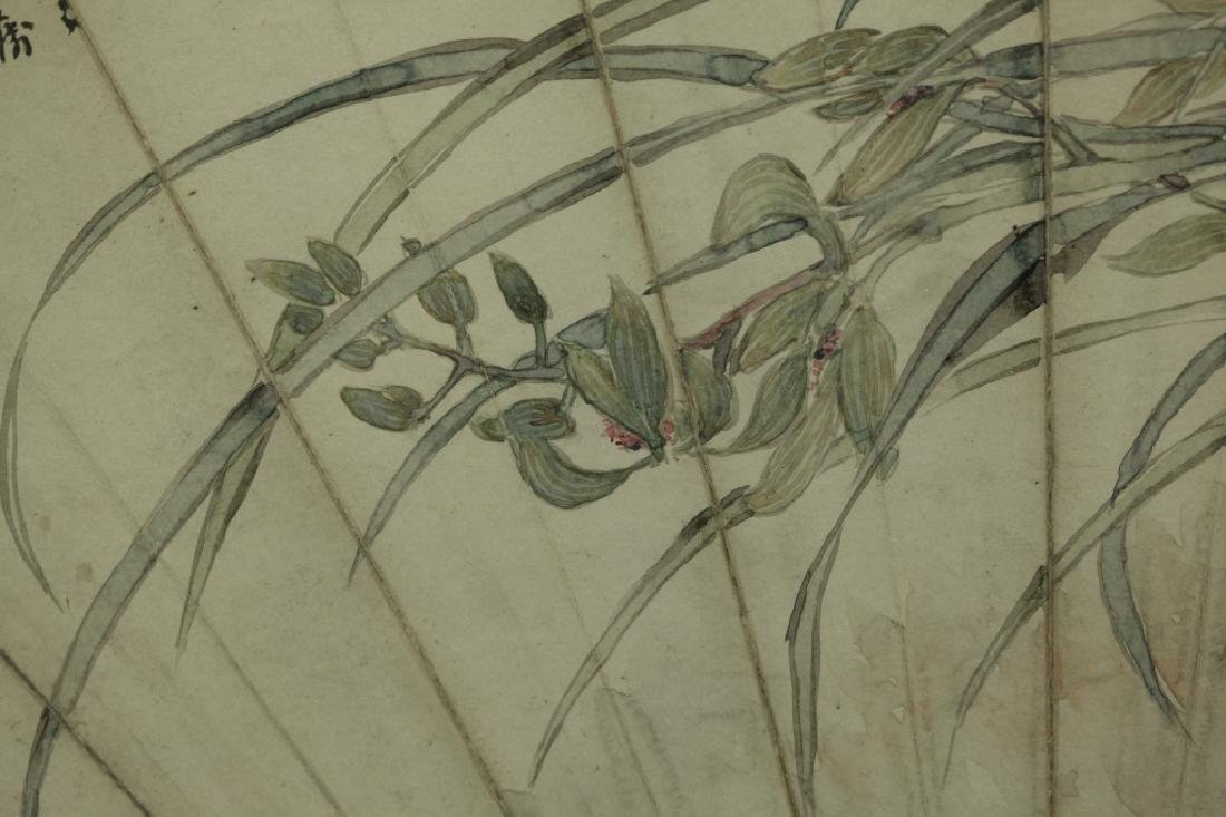 2 Antique Chinese Fan Paintings; Ink & Color - 8