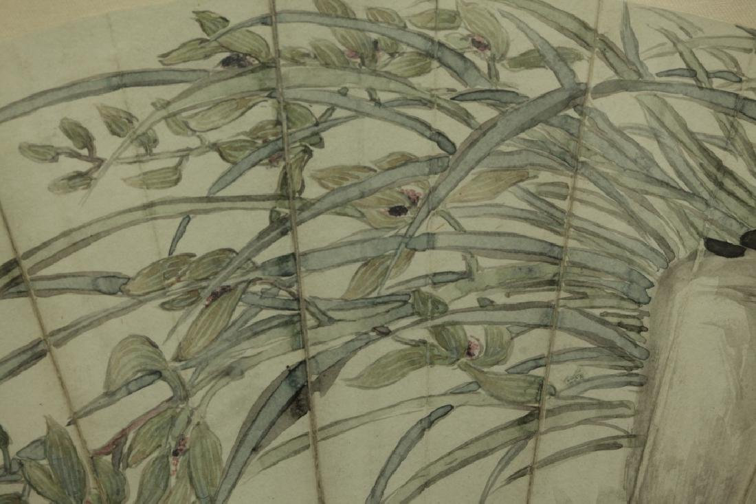 2 Antique Chinese Fan Paintings; Ink & Color - 9