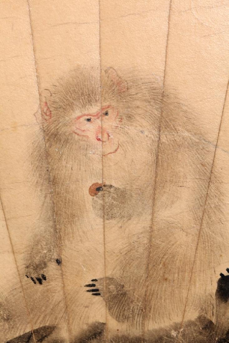 Antique Chinese Fan Painting of Monkey in Tree - 4