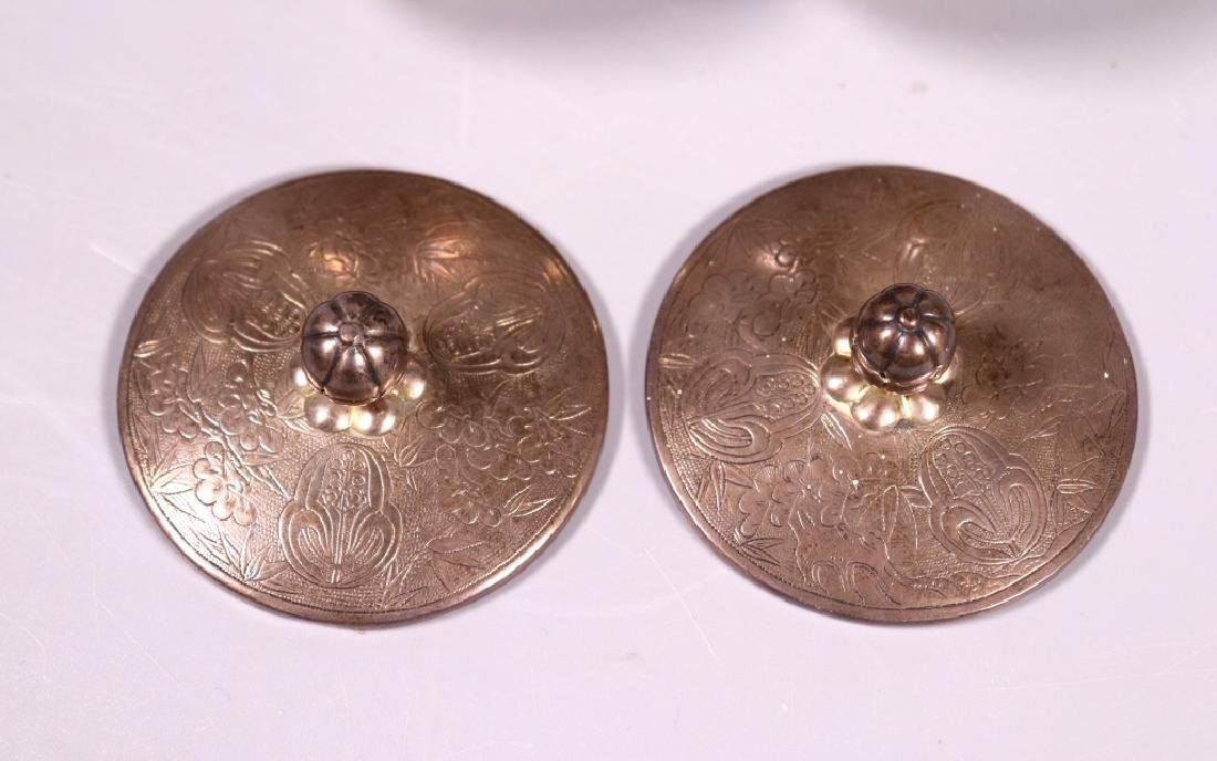 Japanese 19 C Silver Wine Pot; 2 Covered Wine Cups - 10
