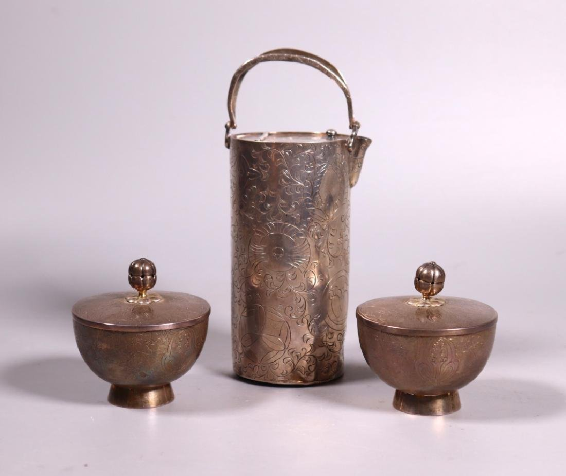 Japanese 19 C Silver Wine Pot; 2 Covered Wine Cups