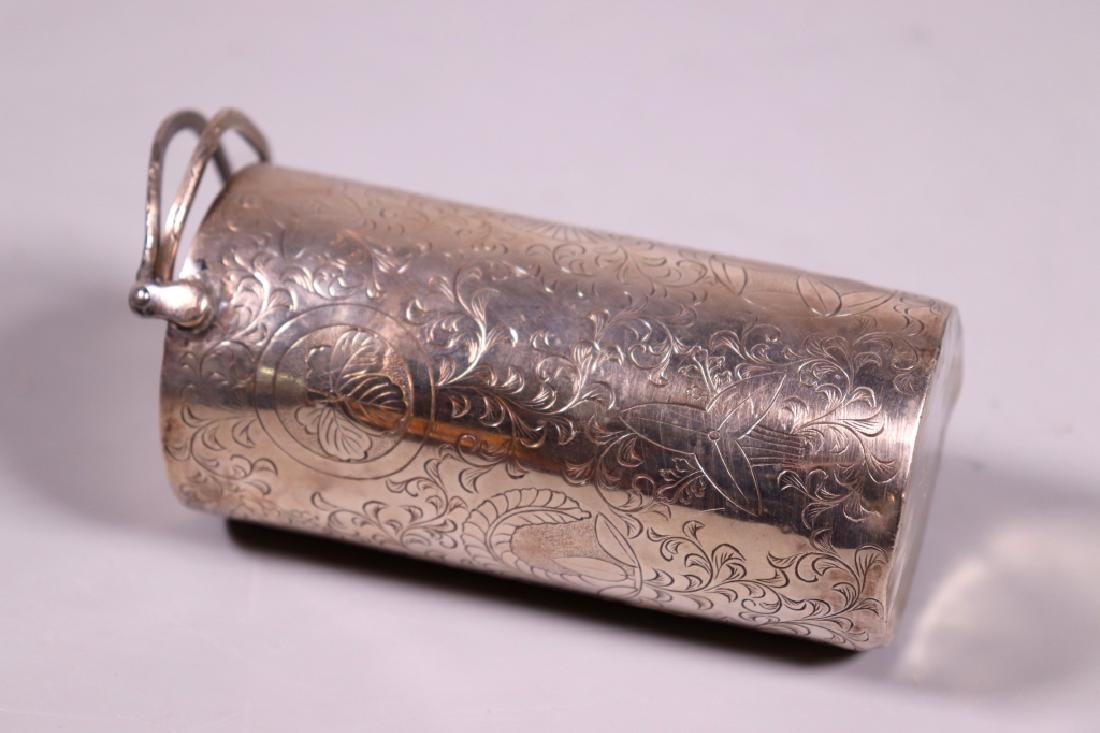 Japanese 19 C Silver Wine Pot; 2 Covered Wine Cups - 4
