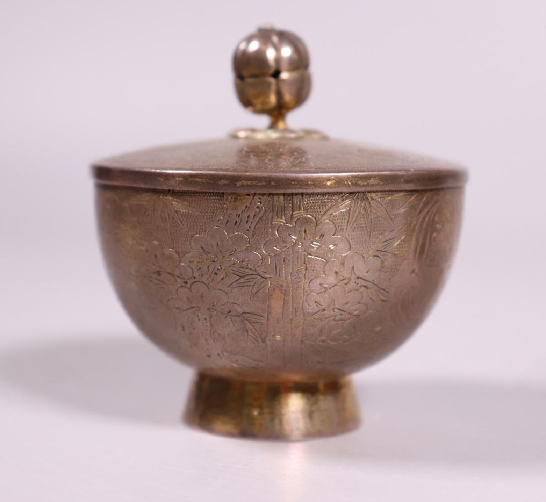 Japanese 19 C Silver Wine Pot; 2 Covered Wine Cups - 8