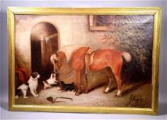 George Armfield; 3 Dogs and Pony Oil Canvas