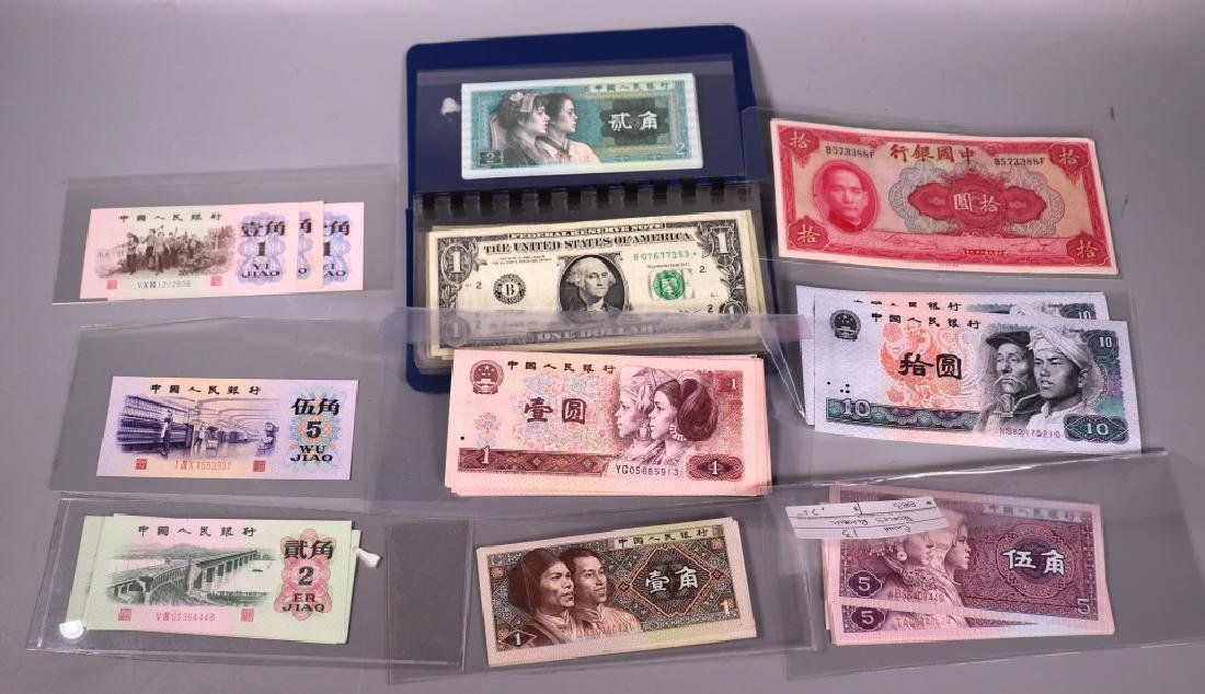 Approximately 93 Chinese Paper Money; 13 US Bills