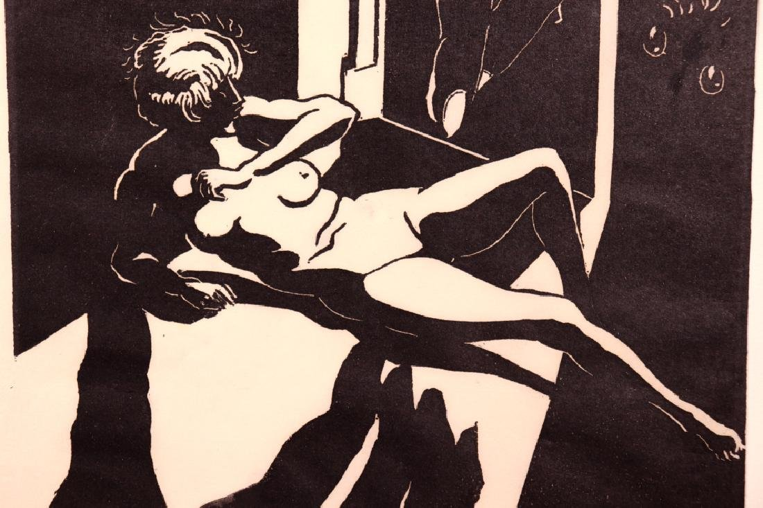 Surrealist Woodblock Print of Female Nude - 4
