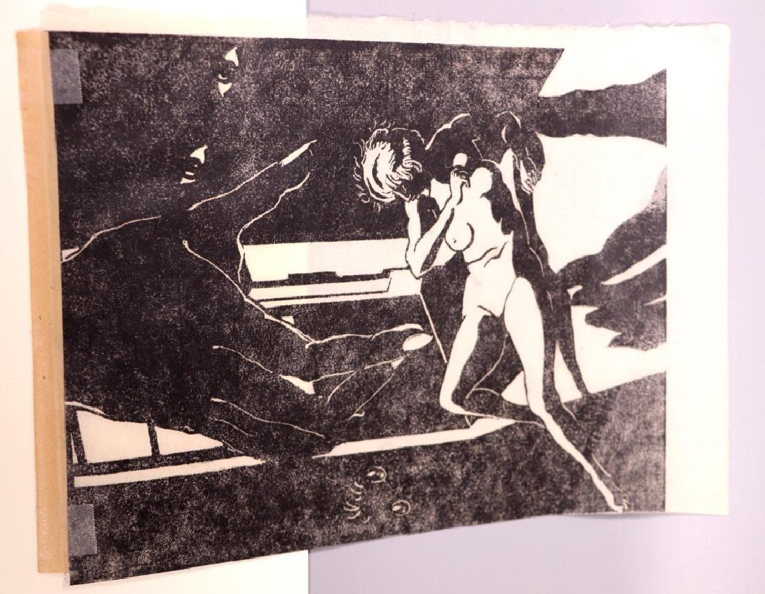 Surrealist Woodblock Print of Female Nude - 5