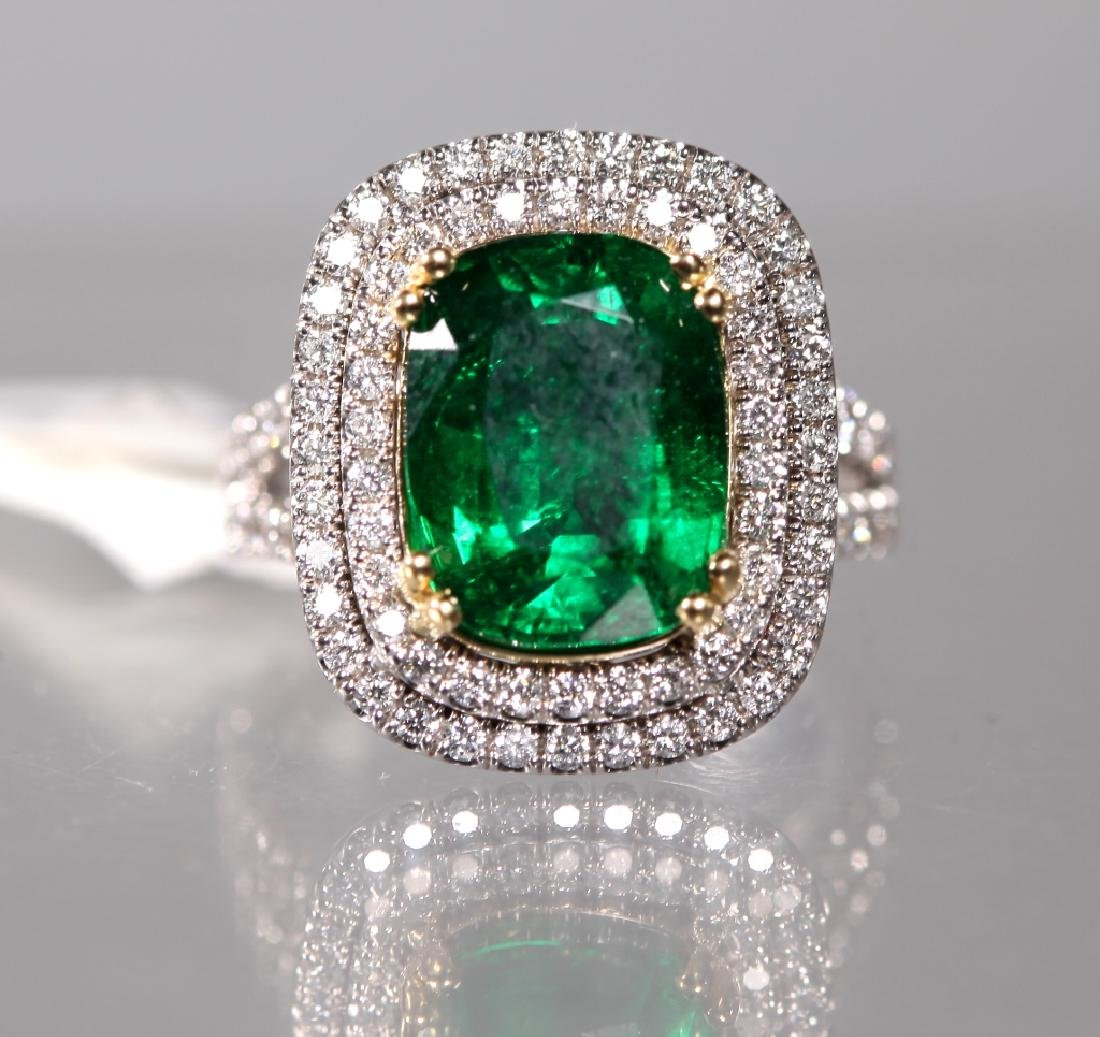 2681390bddfa5 AGL Certified; Cushion Cut 4.94ct. Emerald Ring