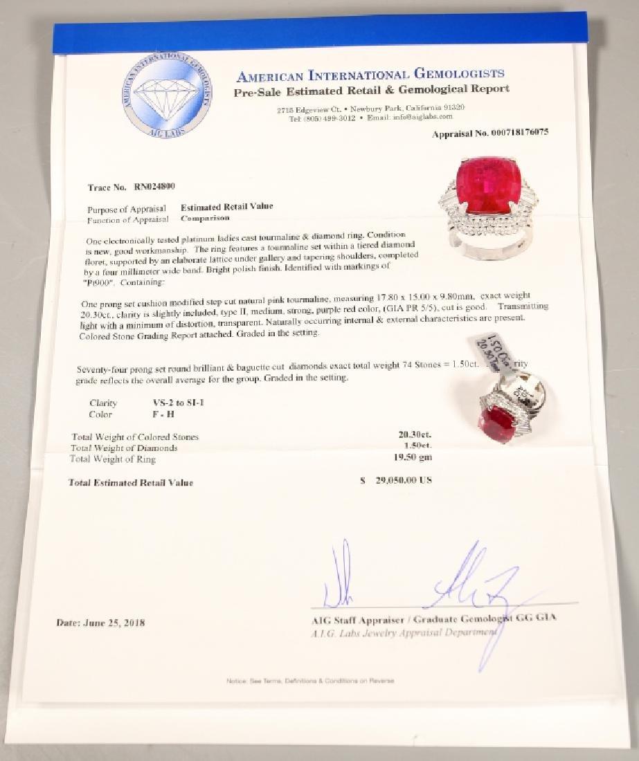 AIG Certified 20.30ct. Tourmaline & Platinum Ring - 10