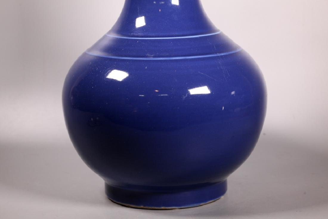 Lg Chinese Late Qing Blue Monochrome Vase - 5