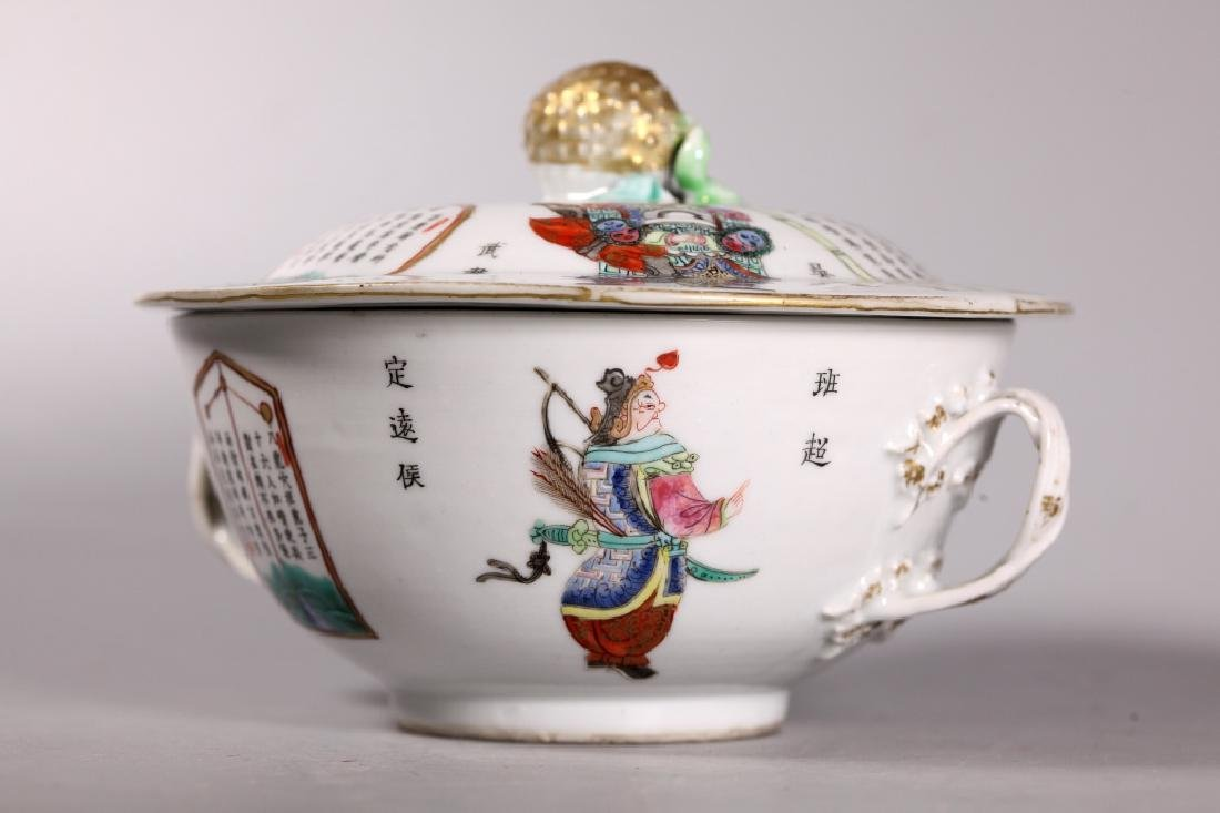 Chinese Early 19 C Enameled Porcelain Covered Bowl - 6