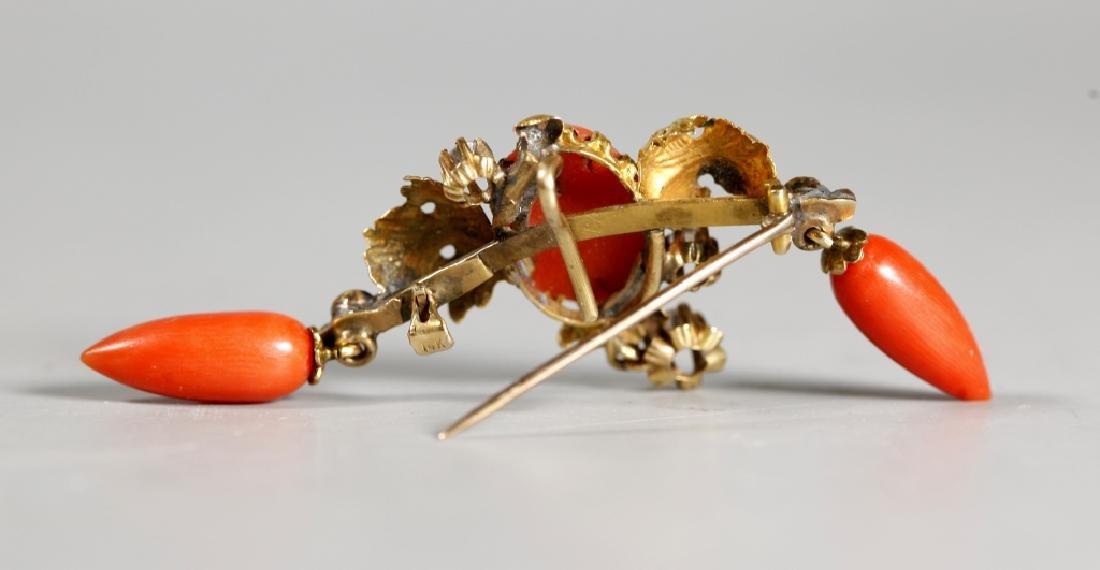 Antique European Dark Coral & 14K Gold Pin - 2