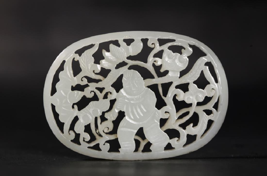 Chinese Carved White Jade Boy & Lotus Plaque