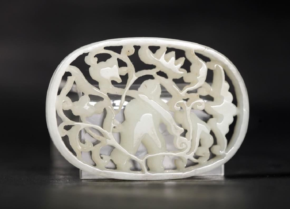 Chinese Carved White Jade Boy & Lotus Plaque - 2