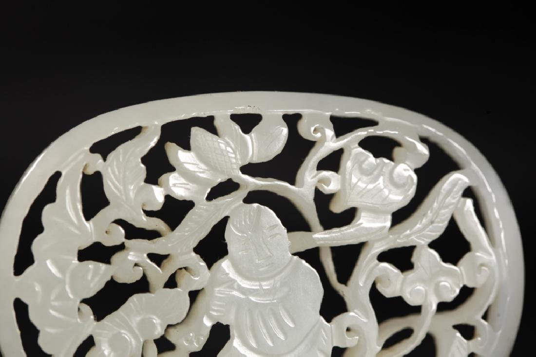 Chinese Carved White Jade Boy & Lotus Plaque - 3