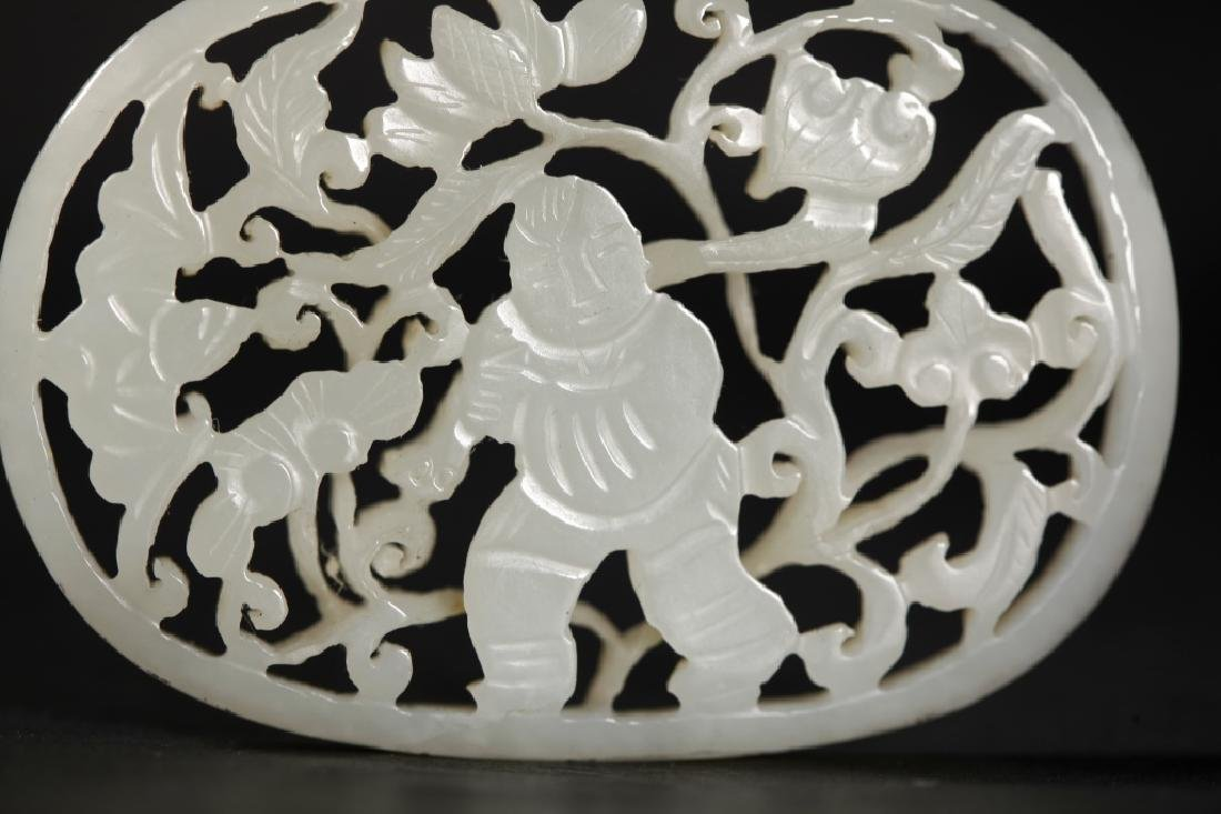 Chinese Carved White Jade Boy & Lotus Plaque - 4