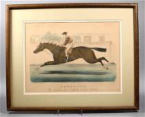 """Currier & Ives Race Horse """"Falsetto"""" Lithograph"""