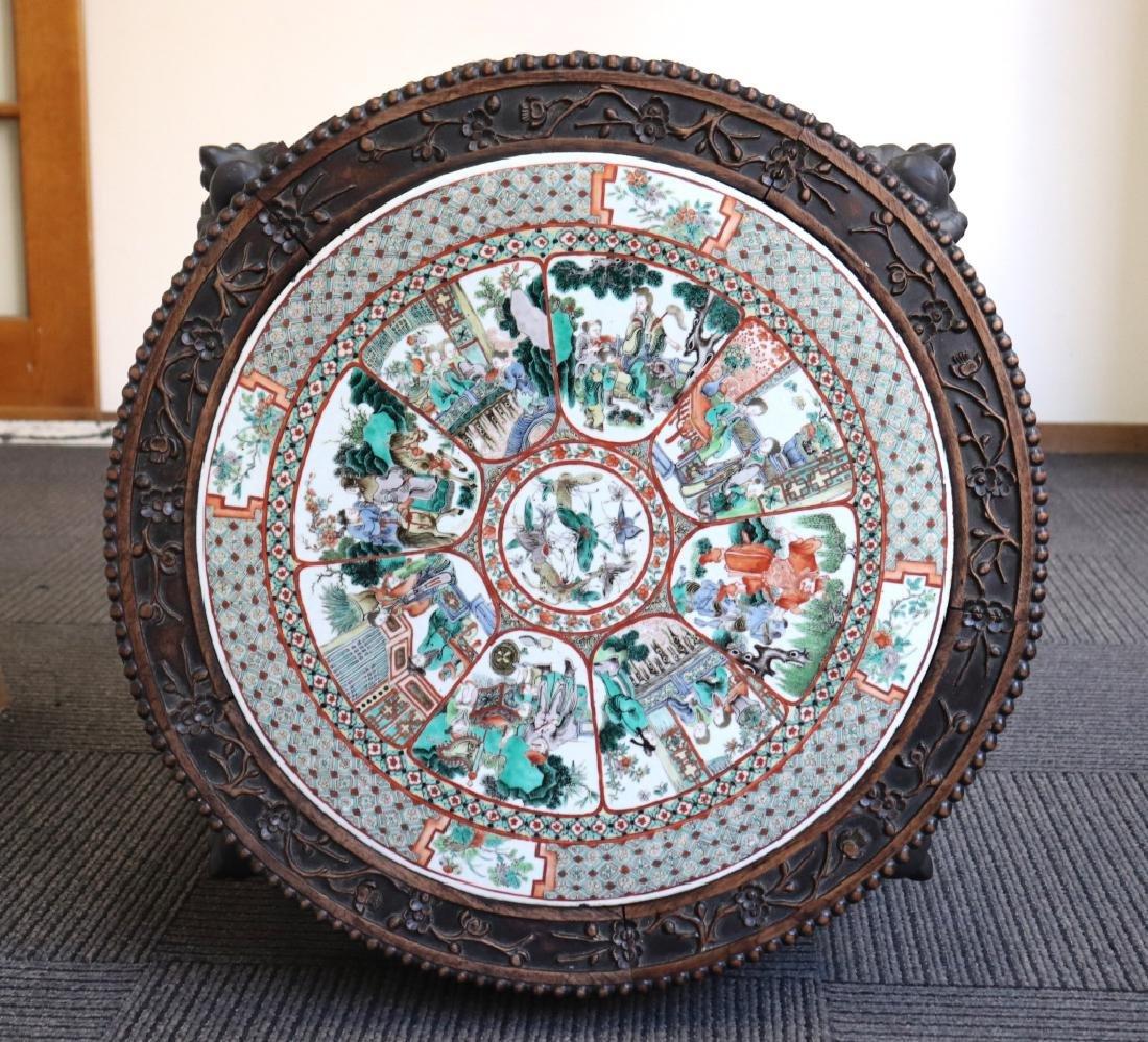 Lg Chinese Qing Famille Verte Porcelain Table