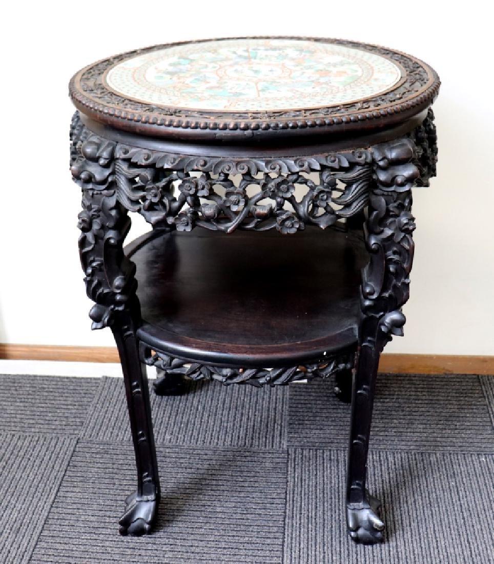 Lg Chinese Qing Famille Verte Porcelain Table - 2