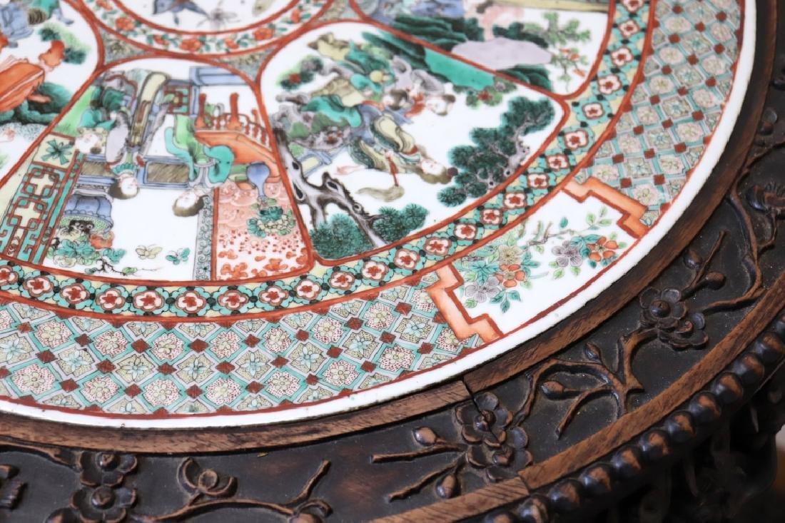 Lg Chinese Qing Famille Verte Porcelain Table - 9
